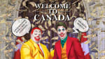 Portrait of Doug Ford and Justin Trudeau as clowns