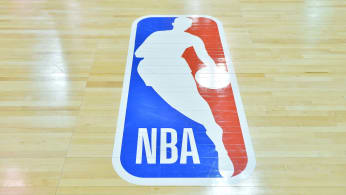 A general view of the court shows the NBA logo during a game in 2017 NBA Summer League.