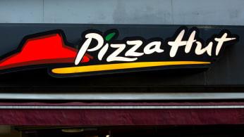 American restaurant chain Pizza Hut logo seen in Gothenburg.