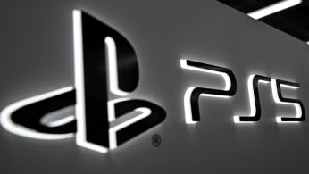 Sony's Playstation 5 logo is seen at an electronics store in Tokyo,
