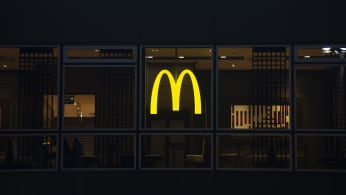 McDonald's Logo is seen on the Warsaw Central railway station building.