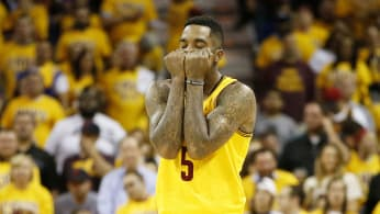 J.R. Smith reacts in the second quarter against the Atlanta Hawks.
