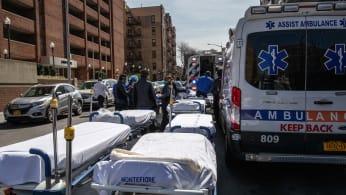 Hospital stretchers await COVID-19 patients