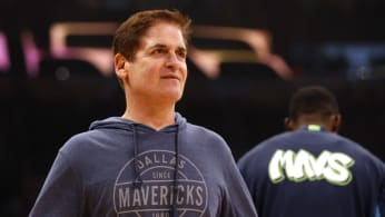 Mark Cuban looks on ahead of a game between the Mavericks and the Lakers.