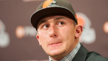 Johnny Manziel answers questions during press conference at Browns training facility.