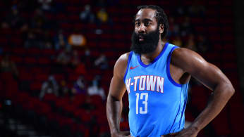 James Harden looks on during the game against the Los Angeles Lakers.