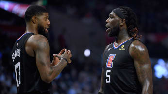 Montrezl Harrell #5 and Paul George #13 of the LA Clippers