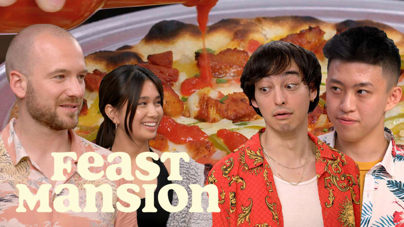 Joji and Rich Brian Have a Pizza Battle with Sean Evans (Part 2) | Feast Mansion