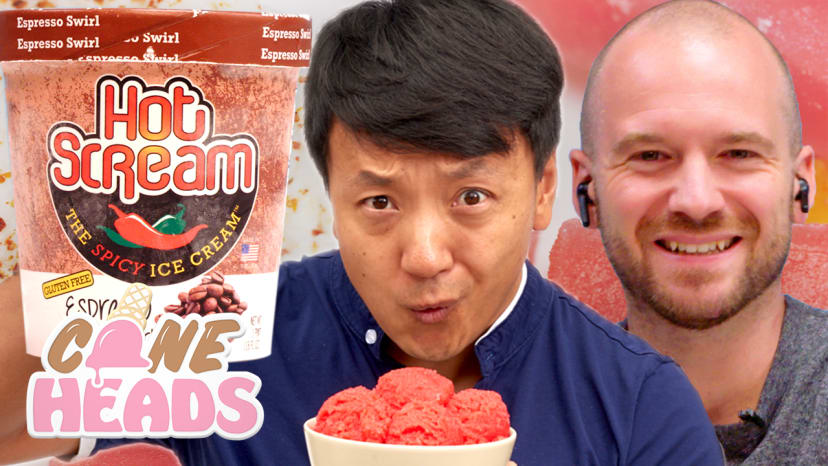Sean Evans and Mike Chen Taste Test Spicy Ice Cream (Feat. The Crazy Gorilla) | Coneheads