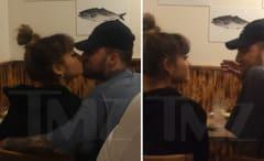 Ariana Grande and Mac Miller kissing.