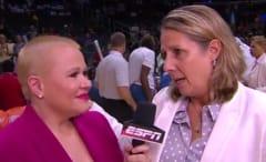 Holly Rowe interviews Lynx head coach Cheryl Reeve.