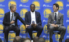 Steve Kerr jokes with Kevin Durant during his first Golden State Warriors' press conference