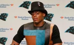 Cam Newton wears top hat at Panthers post-game press conference