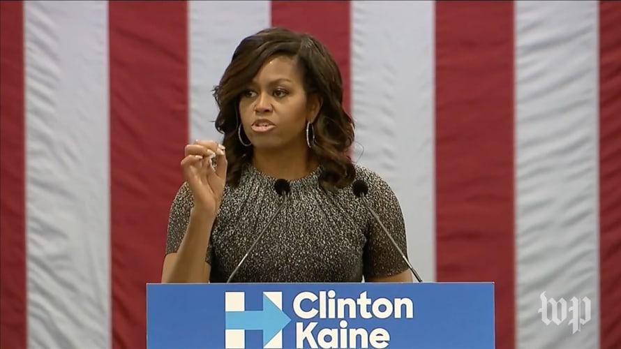 Michelle Obama speaks to voters in Arizona.