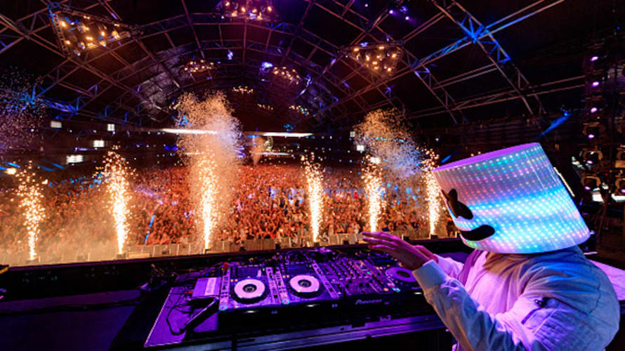 DJ Marshmello performs in the Sahara Tent