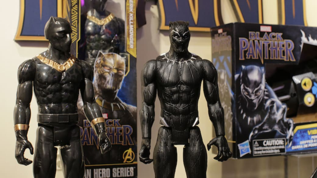 Black Panther toys are displayed to attendees at the Hasbro showroom.