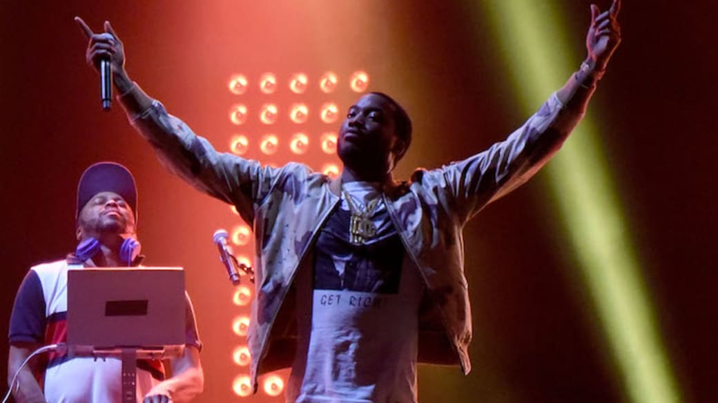 Meek Mill performs as a surprise guest during Jay-Z's Made in America set.