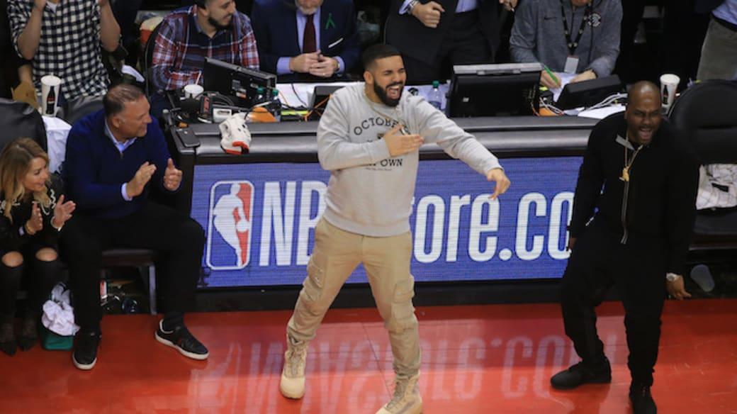 Toronto Raptors ambassador Drake celebrates.
