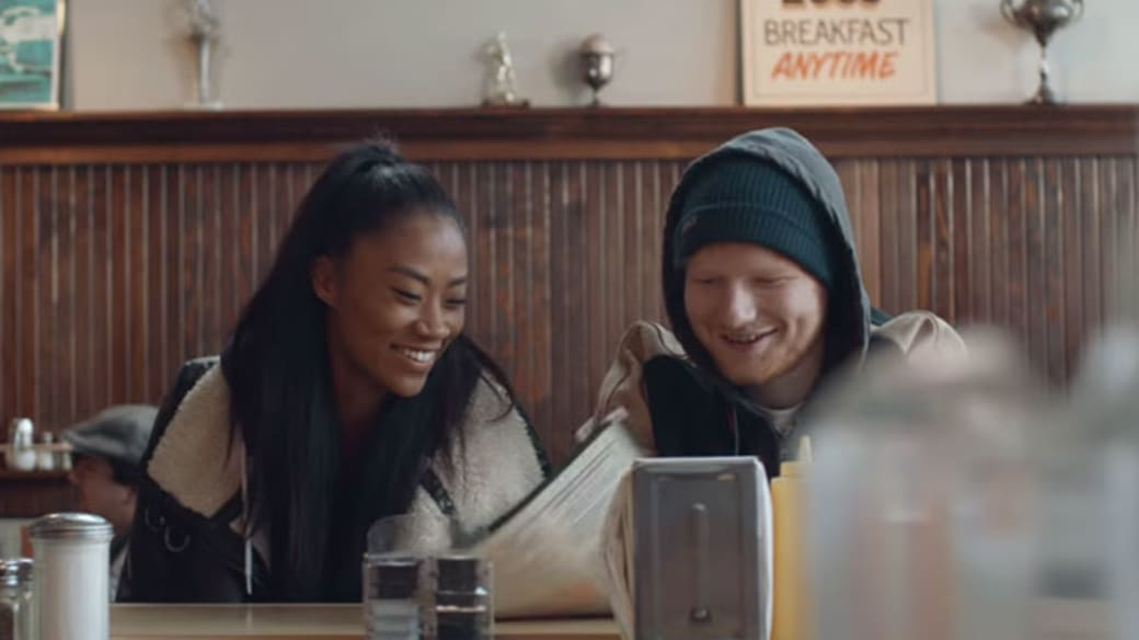 "Ed Sheeran in the ""Shape of You"" music video."