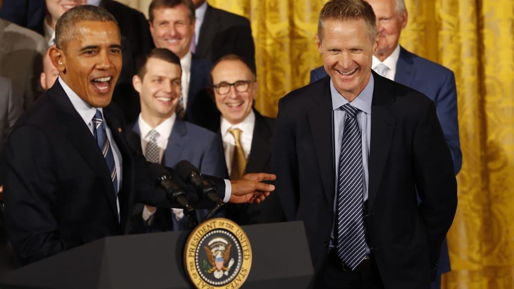 President Obama Steve Kerr White House Warriors NBA Champs