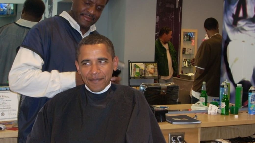 President Obama and his barber Zariff