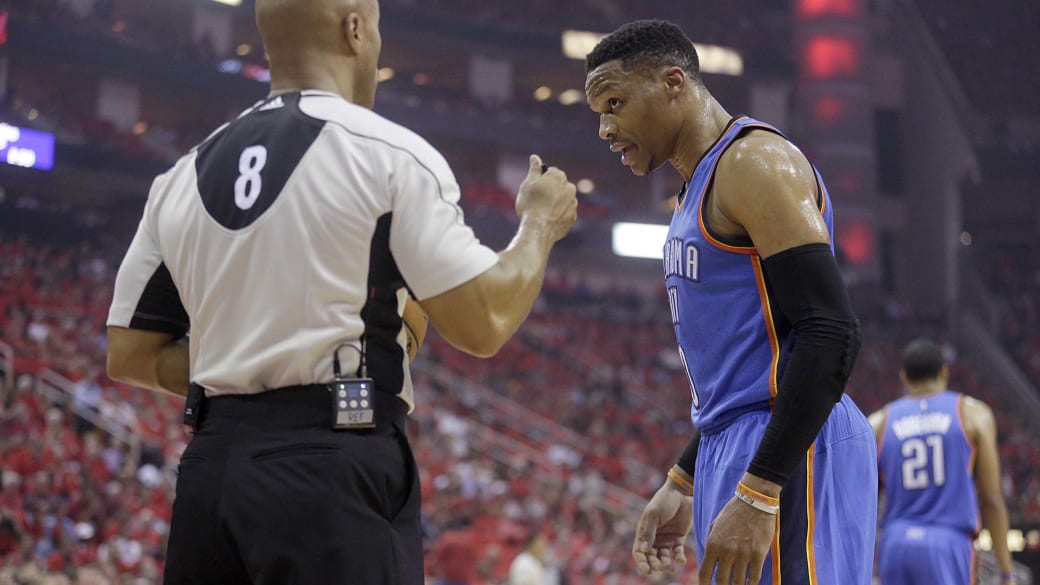 Russell Westbrook Ref Thunder Rockets Game 5 2017 Playoffs