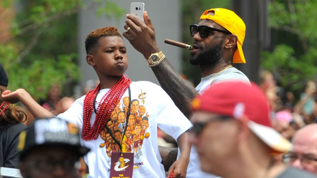 LeBron James and LeBron James Jr. at the Cavaliers' championship parade.