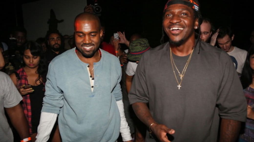 Kanye West and Pusha T attend the 'MNIMN' listening event