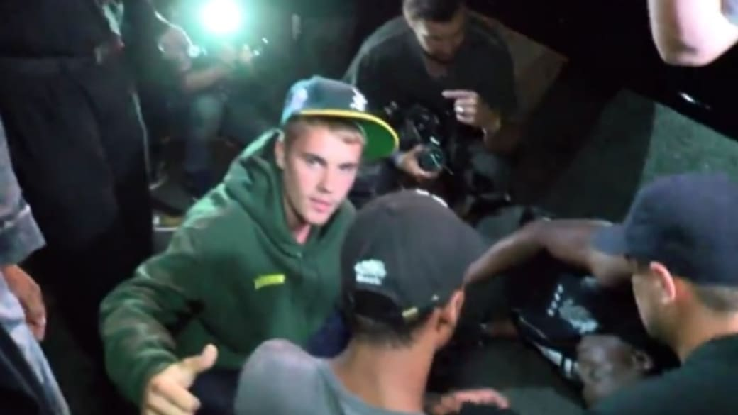 Justin Bieber hits paparazzo with truck.