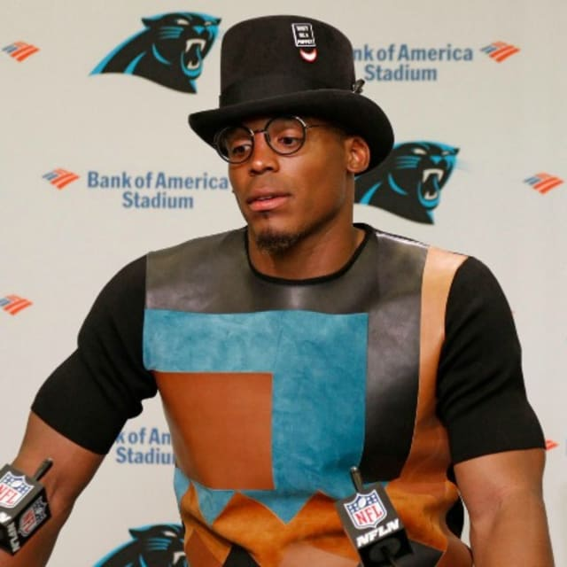 What Are The Panthers Score >> Cam Newton Wears a Top Hat With a Political Message Note at Panthers' Post-Game Press Conference ...