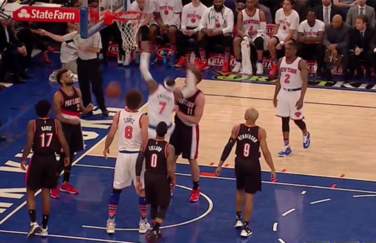 Carmelo anthony gets viciously rejected knocked backwards for World wide motors carmel
