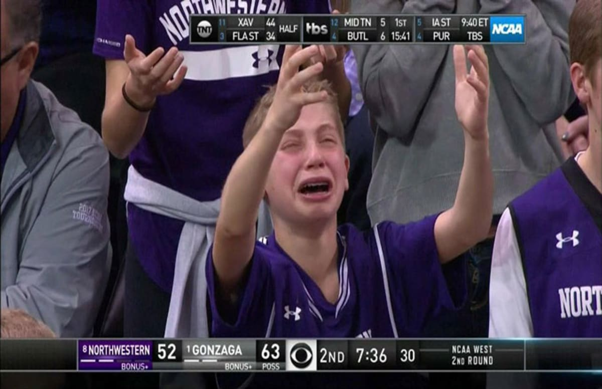 a young northwestern fan got caught crying on tv and