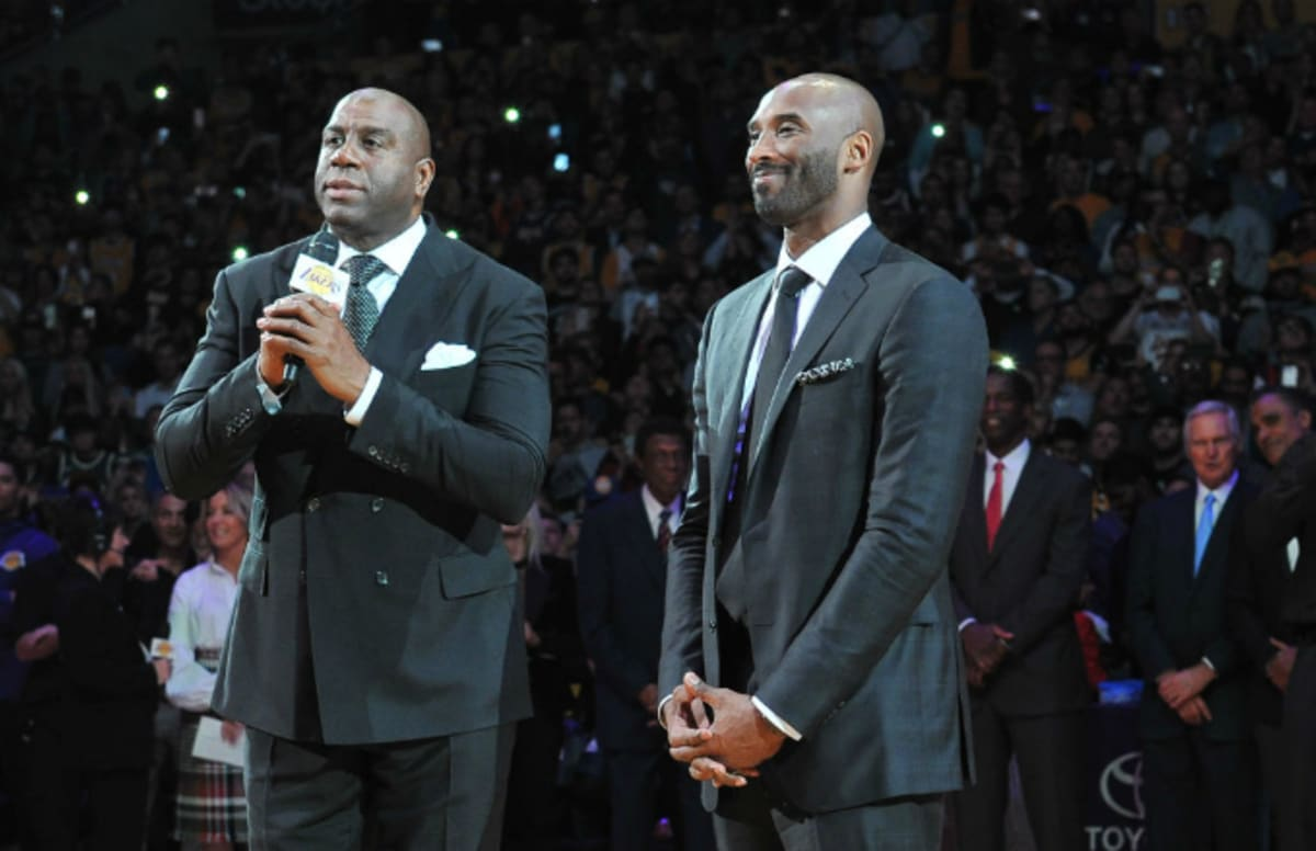 c54ebb66fc9f Kobe Bryant Says That Magic Johnson Deserves a Second Statue After Bringing  in LeBron James