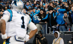 The crowd reacts to Cam Newton during the 2016 NFC Championship Game.