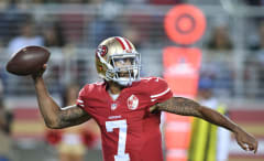 Colin Kaepernick throws a pass during a 2016 preseason game.