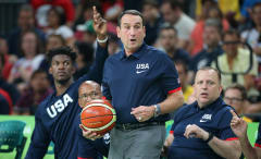 Coach K reacting to play of Team USA in Rio Olympics
