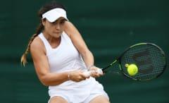 Gabriella Taylor takes part in the junior girls' tournament at Wimbledon 2016.