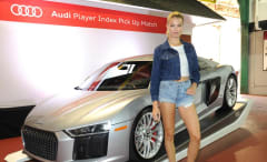 Hailey Clauson at Audi soccer match