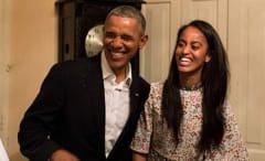 Barack Obama and Malia Obama.