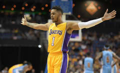 D'Angelo Russell during a Lakers preseason game against the Nuggets.