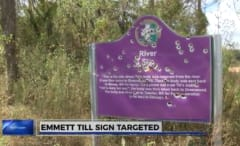 Emmett Till sign riddled with bullets