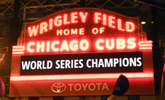 The sign outside Wrigley Field celebrates the team winning the 2016 World Series.