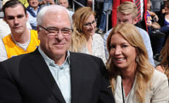 Phil Jackson and Jeanie Buss at Staples Center.
