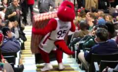 Toronto Raptors mascots drops TV while bringing it to a fan