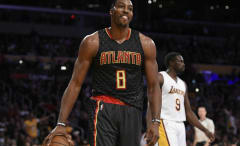 Dwight Howard reacts to a call during a Hawks/Lakers game.