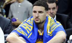 Klay Thompson sits on the bench during the 2016 NBA Finals.