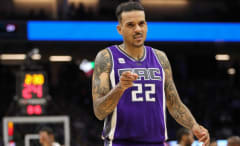 Matt Barnes points during a recent Kings game.