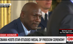 Michael Jordan turns into the Crying Jordan meme while getting reminded of being a meme.