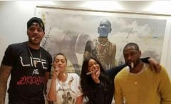 Carmelo Anthony standing next to LaLa Anthony Gabrielle Union and Dwyane Wade