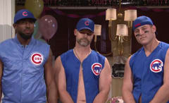 Dexter Fowler, David Ross and Anthony Rizzo of the Cubs on 'Saturday Night Live.'